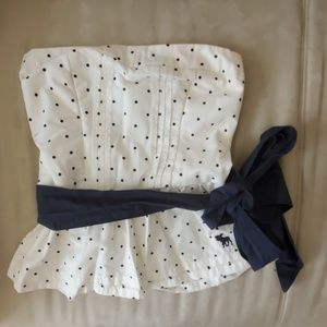 Strapless polka dot white top